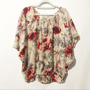 Cabi The Gypsy Red Floral Silk Dolman Blouse Small